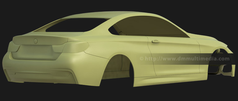 BMW F32 4 Series Coupe - clay render rear view