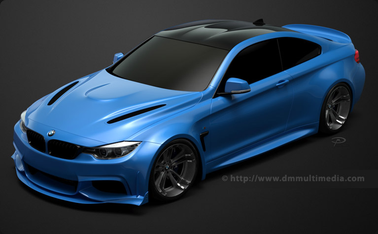 Studio shot of the BMW F32 4 Series Coupe Wide Body with colour-coded front spoiler