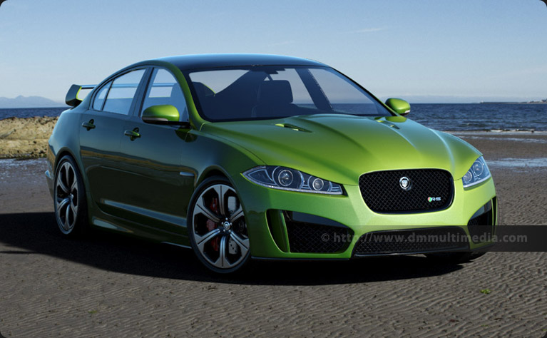 Jaguar XFR-S in Ultimate Green, on the Beach