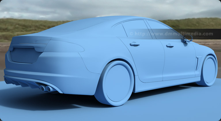 Rear view render using a flat colour to check body flow of the Jaguar