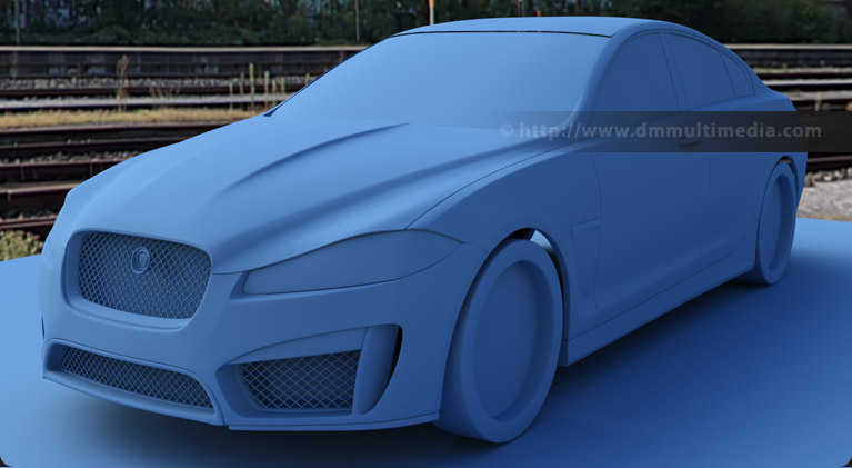 First render using a flat colour to check body flow of the Jaguar