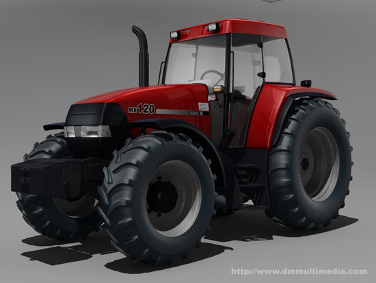 Case MX120 Maxxum Tractor - 3/4 view