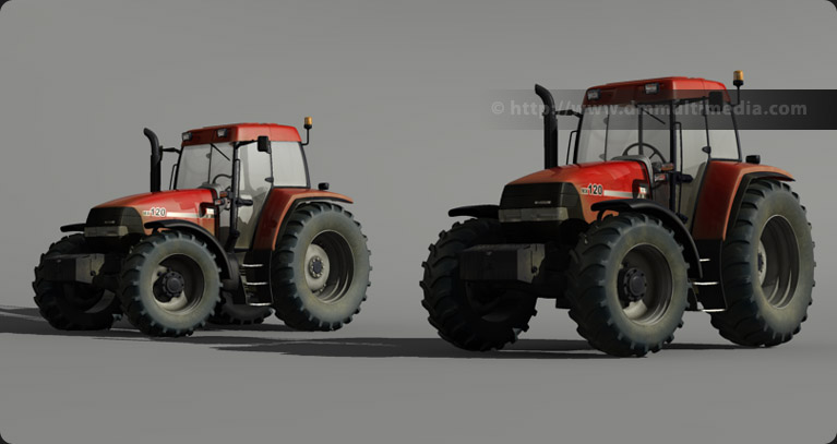 Case MX120 Maxxum Tractor 3D model group shot