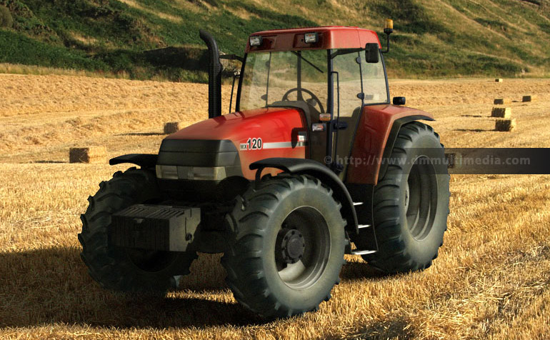 Case MX120 Maxxum Tractor 3D model in typical setting