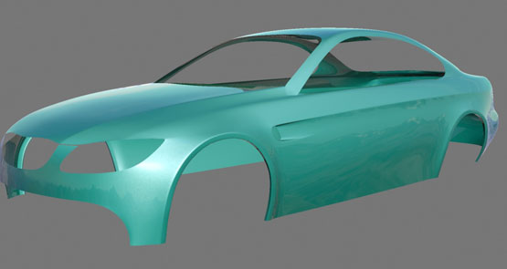 Early render test of the BMW M3 model - testing wing cutouts