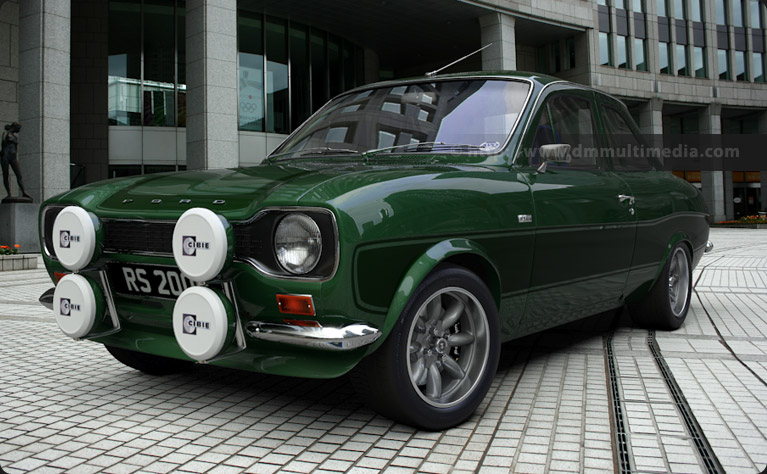"Escort MK1 RS2000 in Modena Green with Dark Green Stripes on 15"" Minilites"