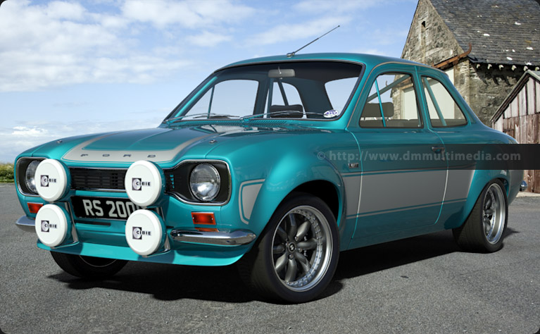 "Escort MK1 RS2000 in Light Blue with Light Grey Stripes, 15"" inch Image Alloys"