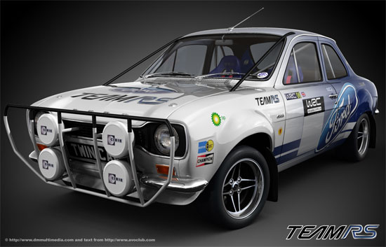 Works Escort in Safari Rally prep