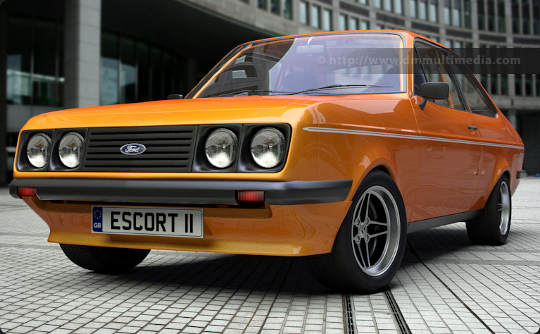 "Escort MK2 RS2000 in Electric Orange Metallic, 7"" RS alloy wheels"