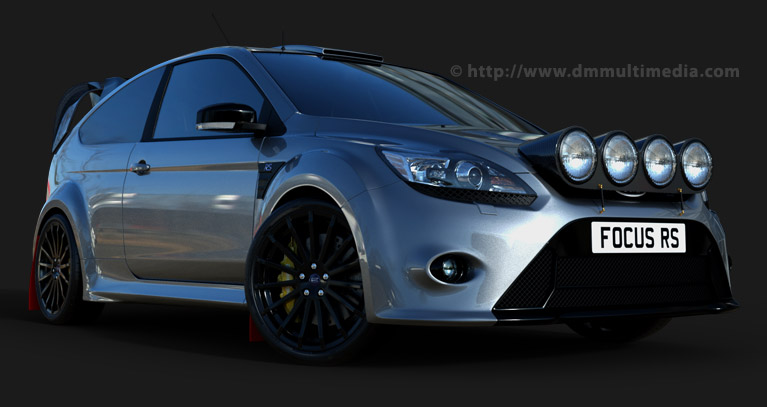 Ford Focus MK2 in Silver, Rally Spec : Spotlights Pod, Roof Vent