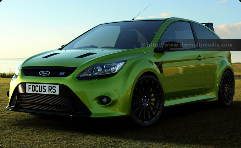 Ford Focus MK2 RS in Ultimate Green in the late evening by the Golf Course