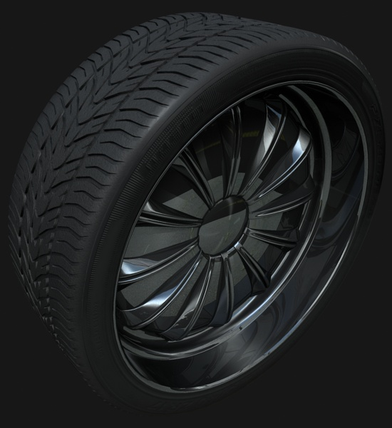 Tyre texture using MR Blend material