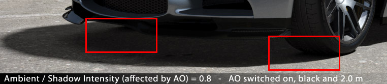 AO Max Distance - Note that the AO Shadow colour is only visible close to the tyres