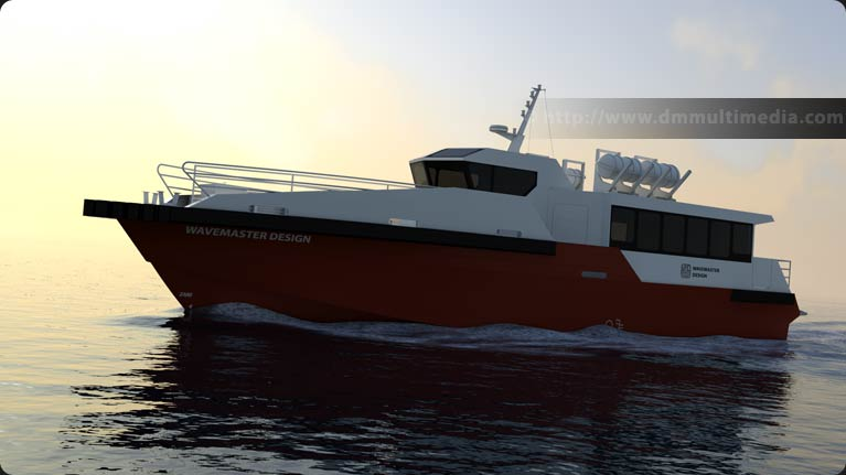 Wavemaster Design Fast Ferry in the late evening