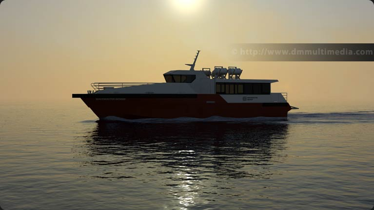 Wavemaster Design Fast Ferry in late evening