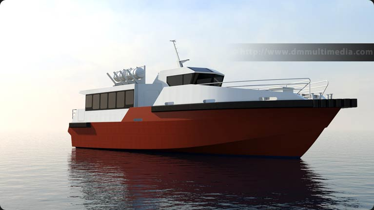 Wavemaster Design Fast Ferry in late evening, eary texture test